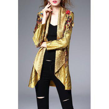 Shawl Collar Shiny Printed Coat