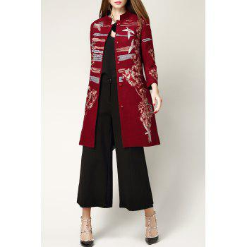 Wool Blend Embroidered Coat