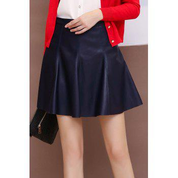 PU Leather Zip Mini Skirt