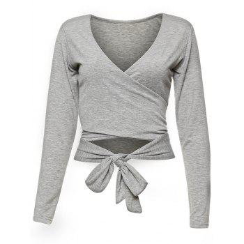 Wrap Front Long Sleeve Crop Top