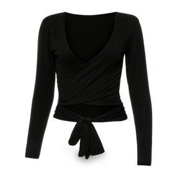 Wrap Front Long Sleeve Tie Crop Top