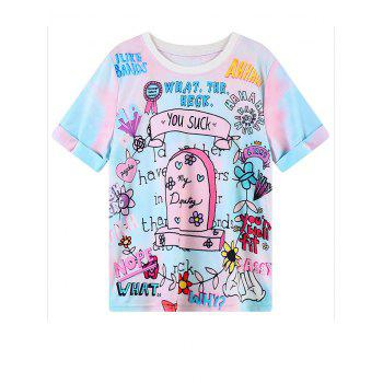 Jewel Neck Cartoon Graphic Pattern T-Shirt