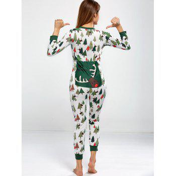 Christmas Tree Print Footed Pajama Sleepwear Sets - GREEN M