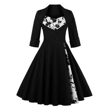 Knee Length Floral Flare Corset Dress Black S In Vintage Dresses Dresslily Com