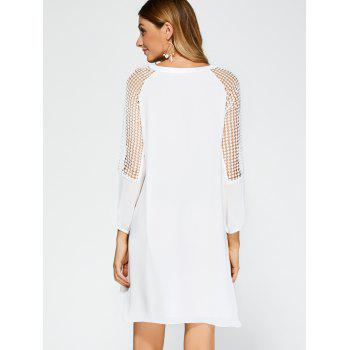 Casual Openwork Lace Insert Dress with Sleeves - WHITE S