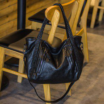 Faux Soft Leather Slouch Tote Bag - BLACK