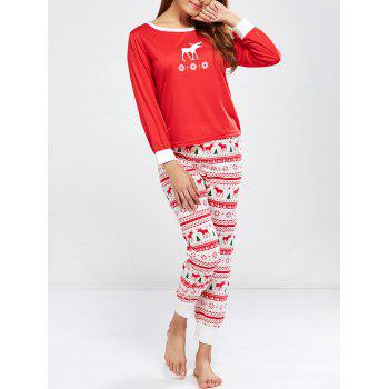 Christmas Deer Print Pajamas Sleepwear Sets