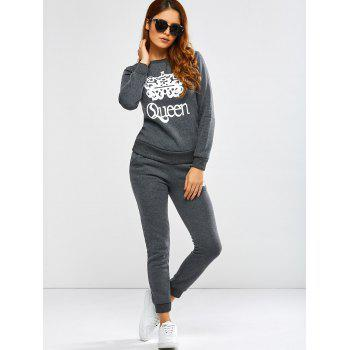 Queen Crown Pattern Sweatshirt and Pants - DEEP GRAY XL