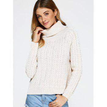 Turtleneck Open Back Sweater - OFF WHITE ONE SIZE