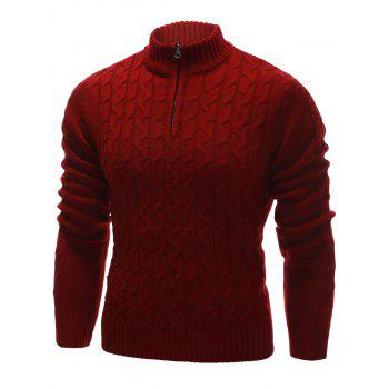 Cable Knit Half Zip Up Pullover Sweater - RED 2XL
