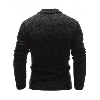 Half Zip Up Stand Collar Cable Knit Sweater - BLACK M