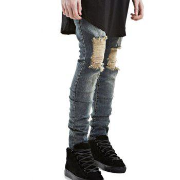 Zip Fly Ripped Jeans in Slim Fit - BLUE 30