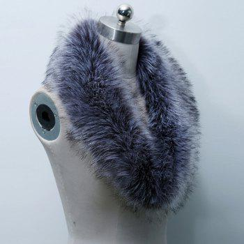 Winter Faux Fur Collar Scarf - PURPLISH BLUE