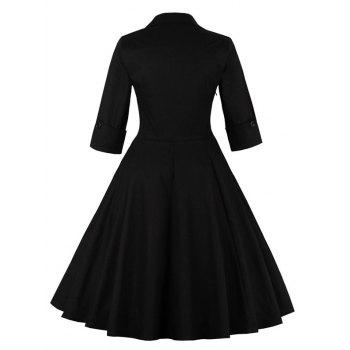 Bowknot Swing Dress Vintage Prom Dresses - BLACK S