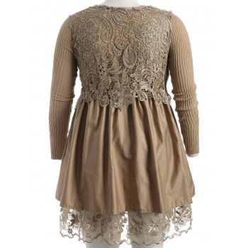 Plus Size Lace Splicing Faux Fur Knitted Dress - CAMEL 3XL
