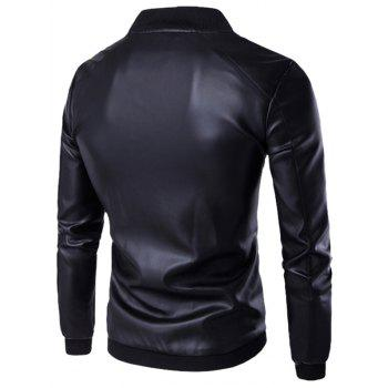 Stand Collar PU Leather Zip Up Jacket - BLACK L