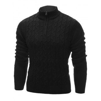Cable Knit Half Zip Up Pullover Sweater - BLACK 2XL