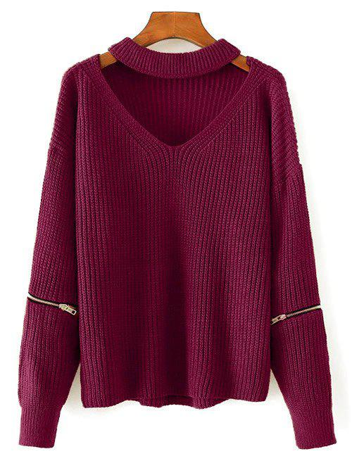 Chunky Choker Sweater - WINE RED ONE SIZE
