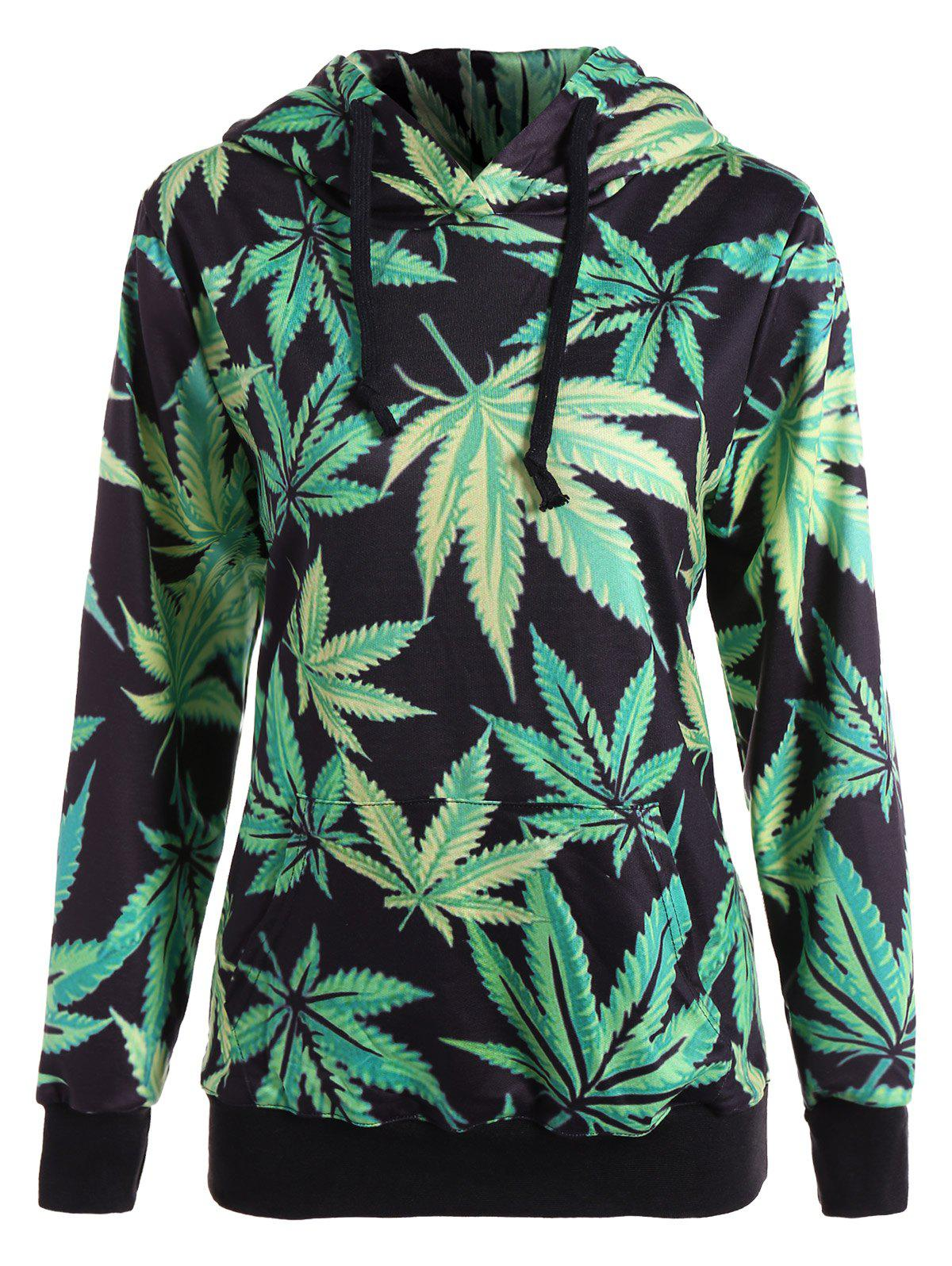 maple leaf print pullover hoodie black green m in sweatshirts