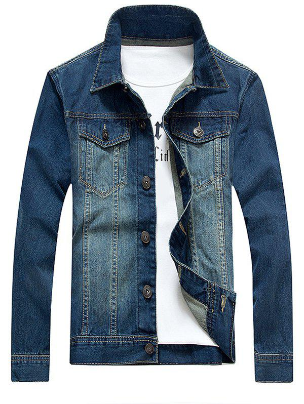 Pockets Embellished Bleach Wash Denim Jacket - BLUE 4XL
