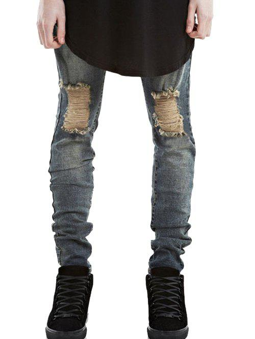 Zip Fly Ripped Jeans in Slim Fit 2017 slim fit jeans men new famous brand superably jeans ripped denim trousers high quality mens jeans with logo ue237