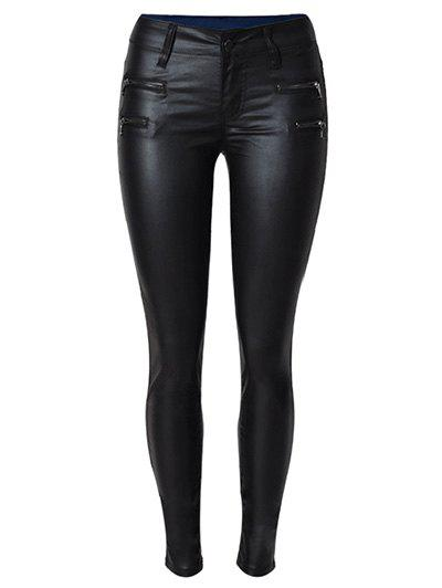 Zippers Faux Leather Ponte Pants - BLACK L