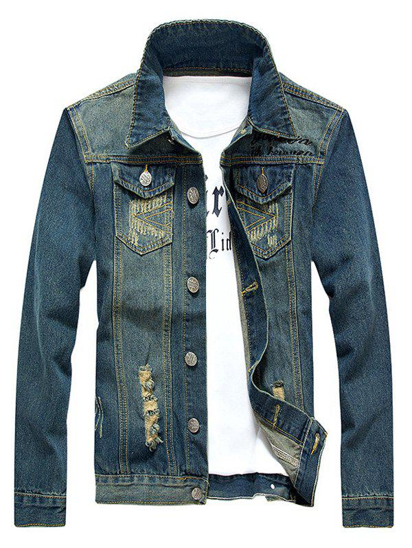 Holes and Cat's Whisker Embellished Star Applique Denim Jacket - BLUE 4XL