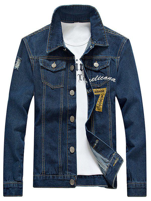 Embroidered Design Number Applique Denim Jacket - BLUE L