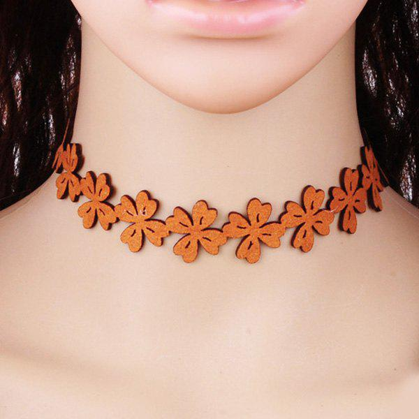 Flowers Choker Necklace - BROWN