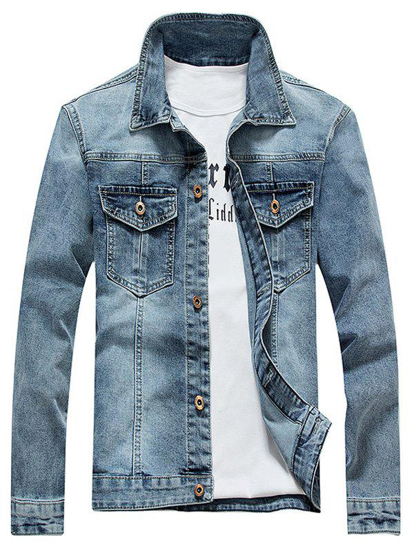 Turndown Collar Plus Size Bleach Wash Denim Jacket купить