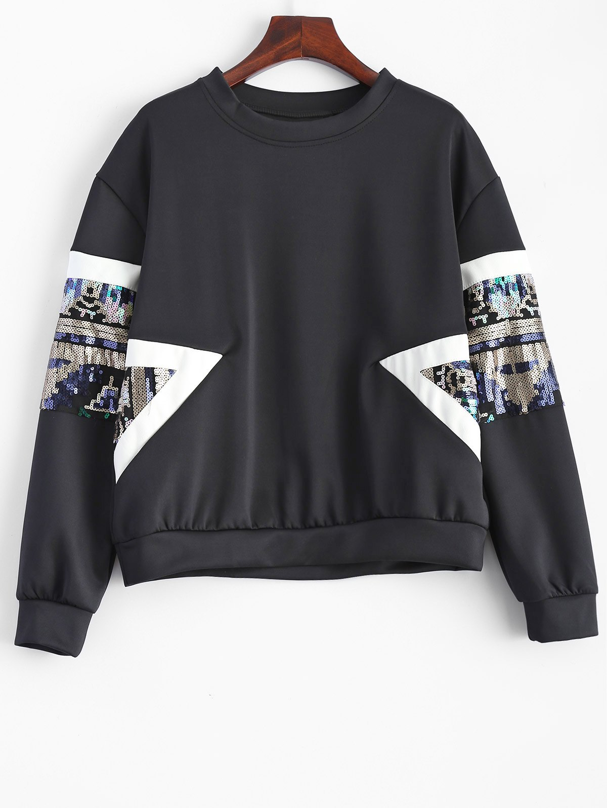 Sequined Patched Loose Sweatshirt - BLACK M