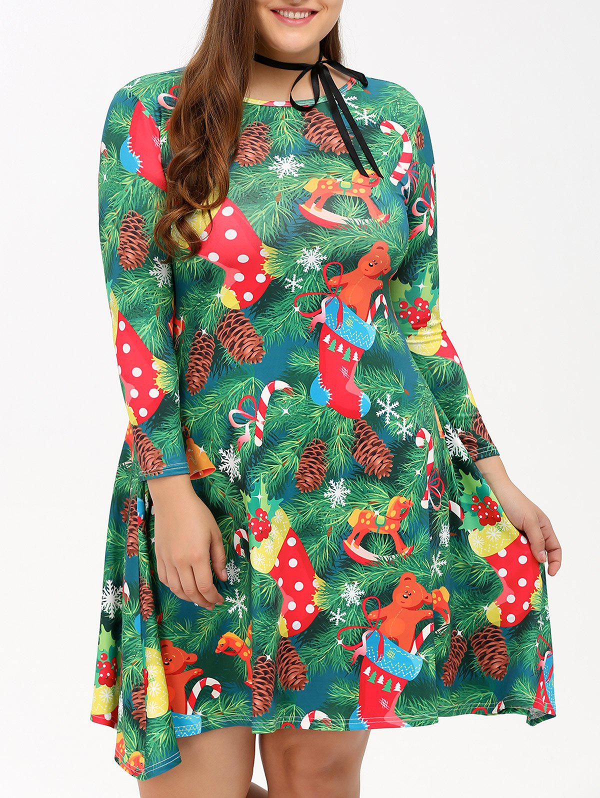 Plus Size Christmas Tree Print Dress - GREEN L