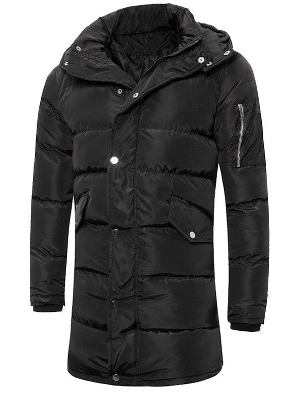 Lengthen Hooded Thicken Quilted Coat - BLACK M