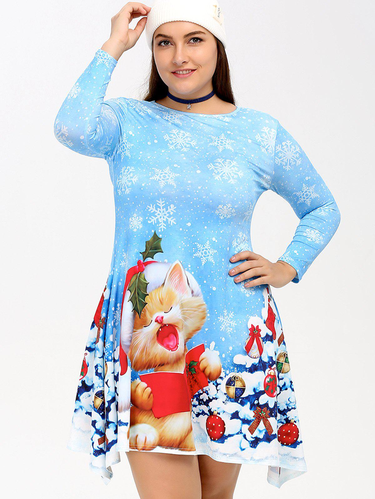 Christmas Snowflake Kitten Print Skater Dress - CLOUDY 4XL