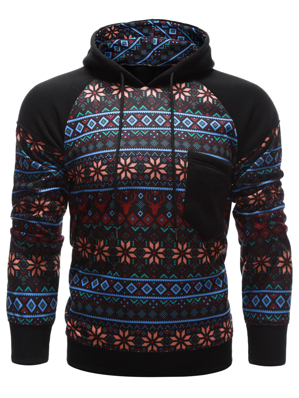 Tribal Print Chest Pocket Raglan Sleeve Hoodie - BLACK M