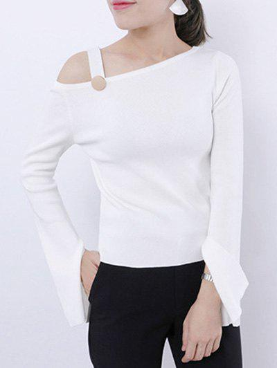Skew Neck Slit Flare Sleeve Knitted Top skew neck cable knitted sweater