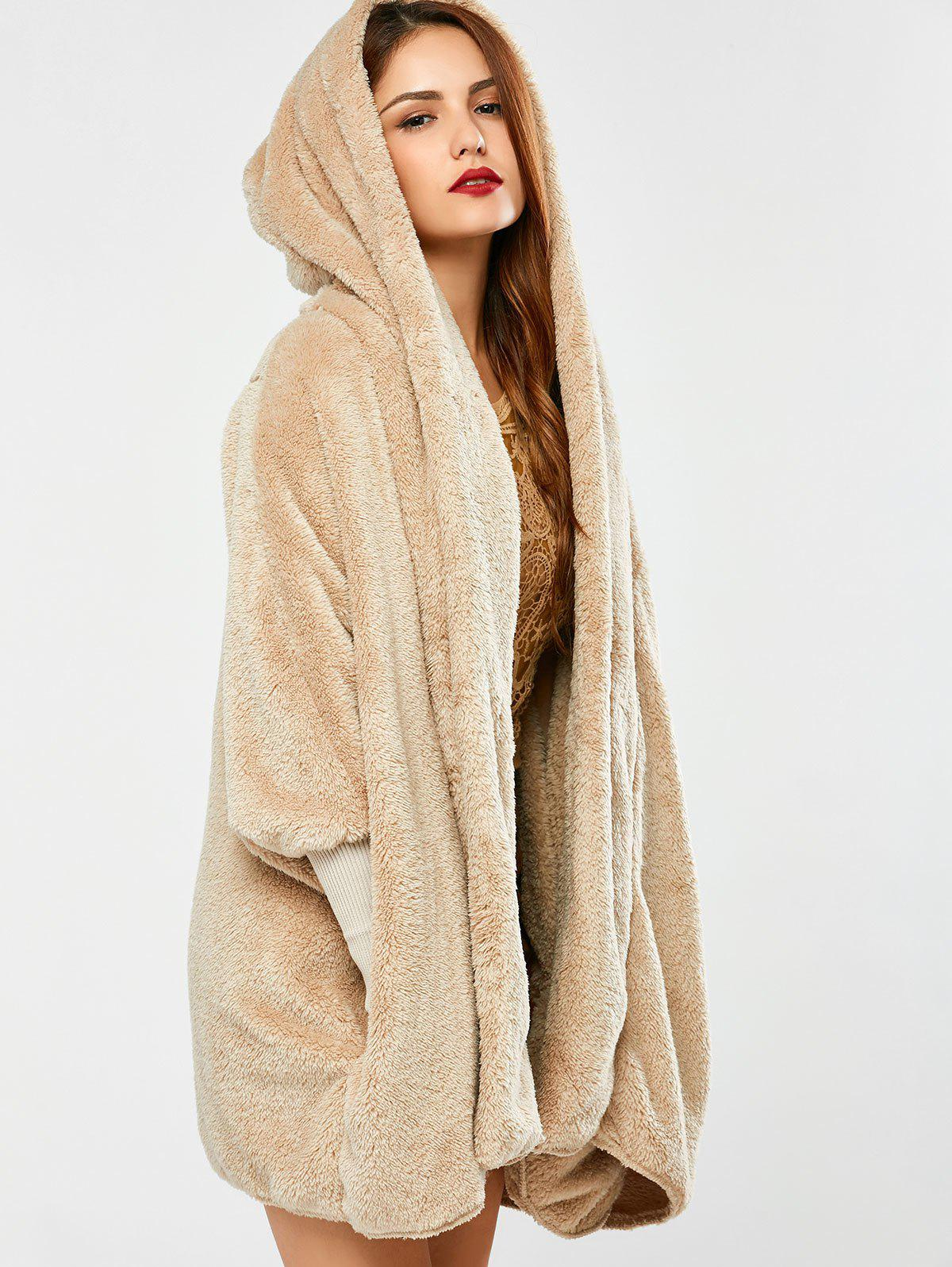 Fuzzy Hooded Coat - APRICOT ONE SIZE