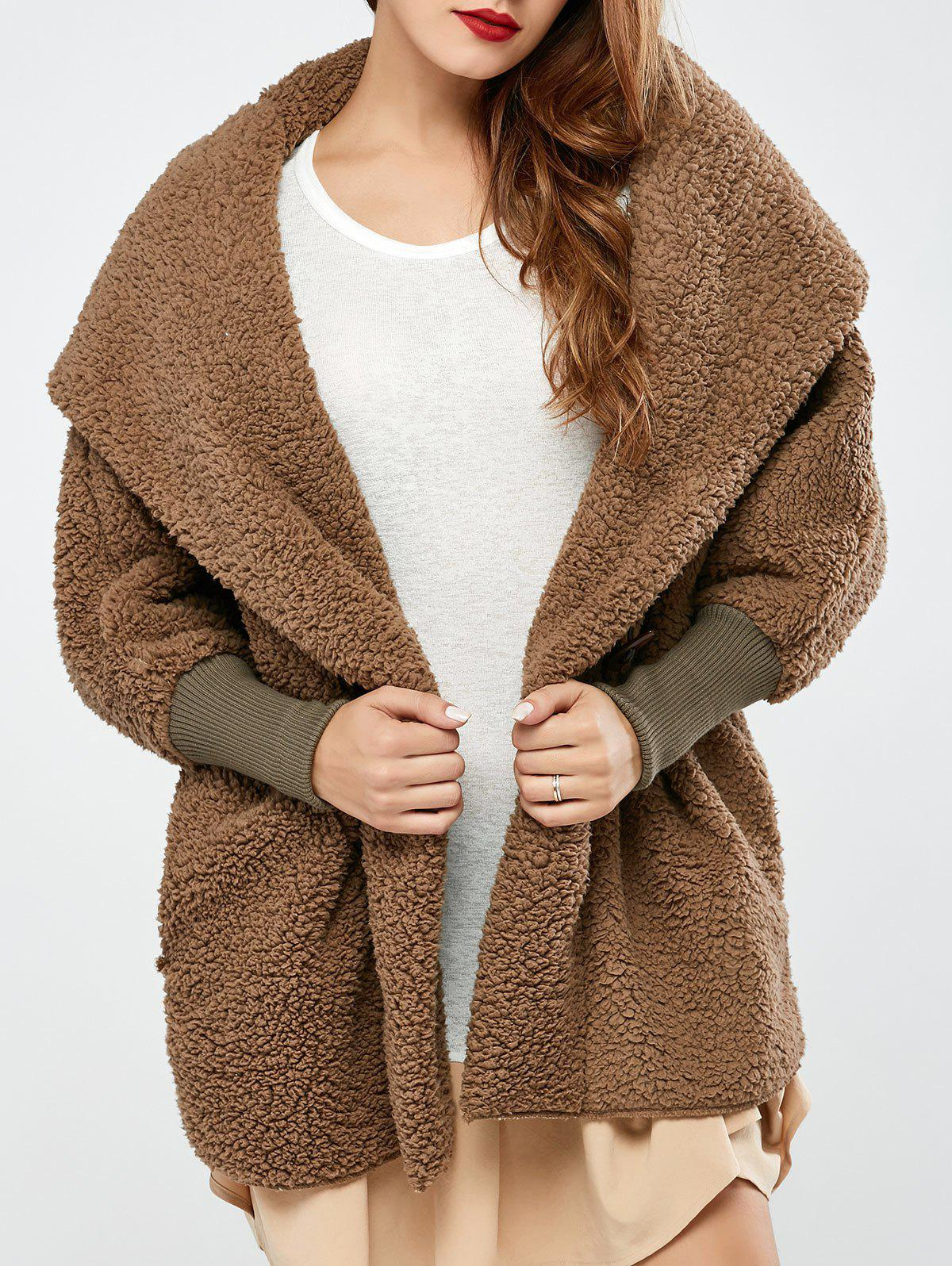 2018 One Button Fuzzy Hooded Coat BROWN ONE SIZE In Jackets ...