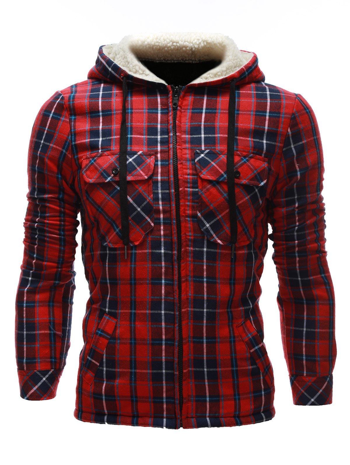 Zip Up Flocking Hooded Pocket Plaid Jacket - RED M