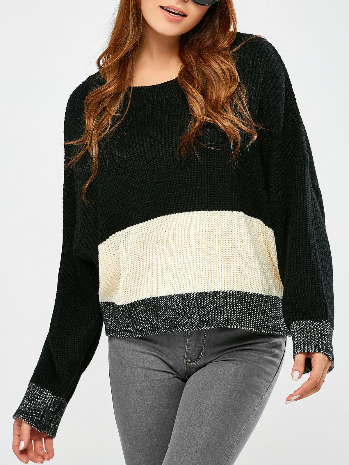 Round Collar Color Block Pullover Sweater - BLACK ONE SIZE