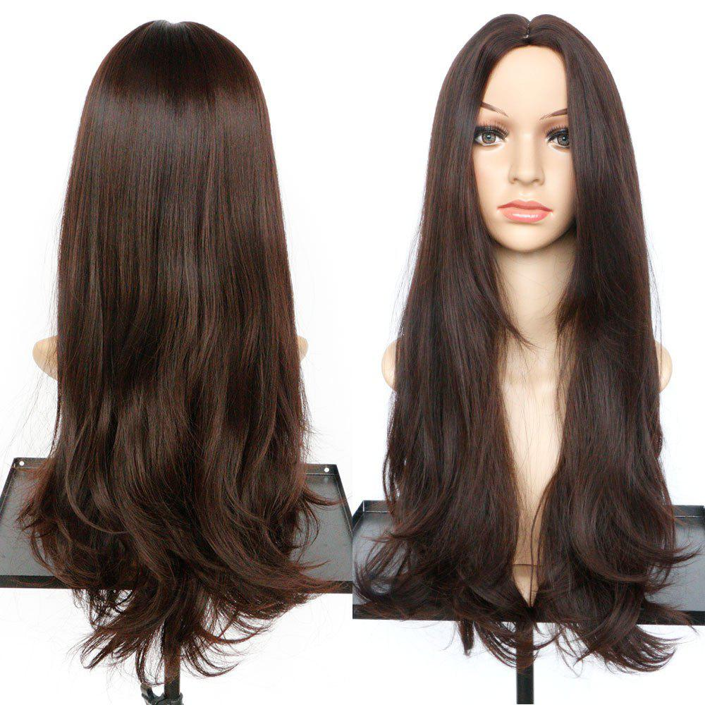 Long Slightly Curled Middle Part Synthetic Wig