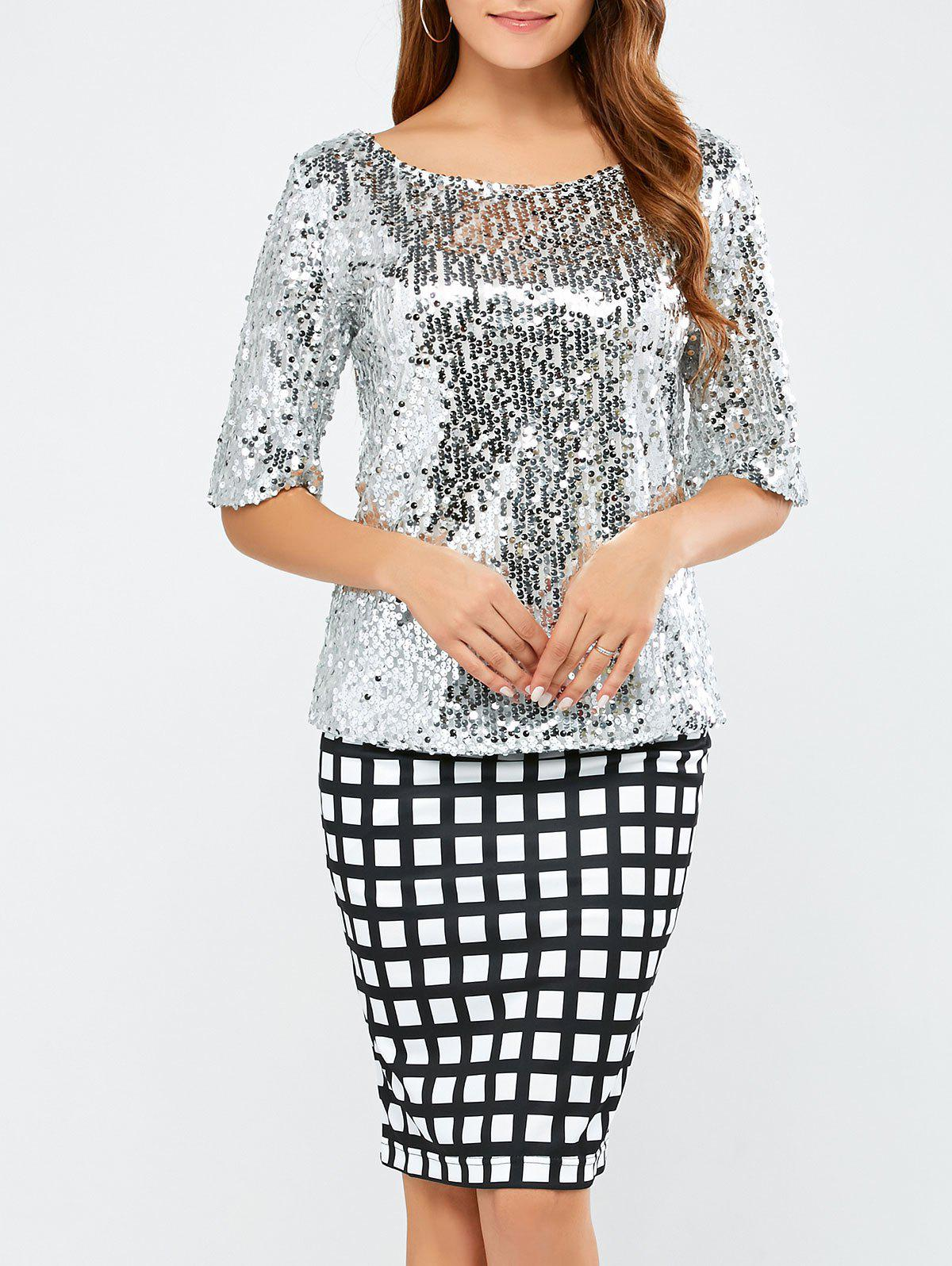 Sequined Short Sleeve TeeWomen<br><br><br>Size: L<br>Color: SILVER