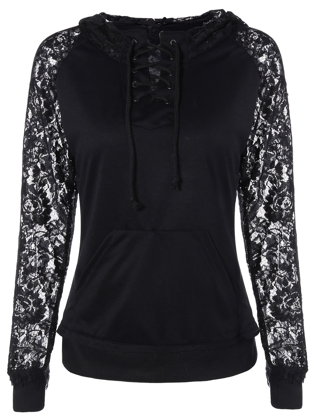 Image of Lace Insert Pocket Design Hoodie