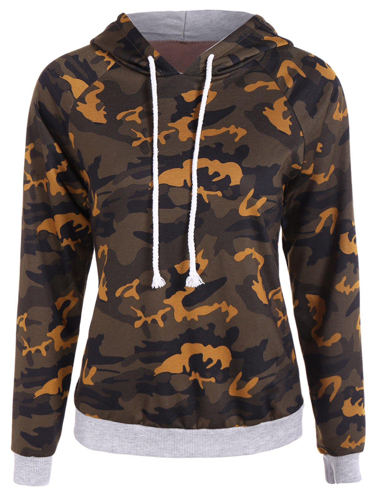 Drawstring Camo Print Paneled HoodieWomen<br><br><br>Size: L<br>Color: CAMOUFLAGE COLOR