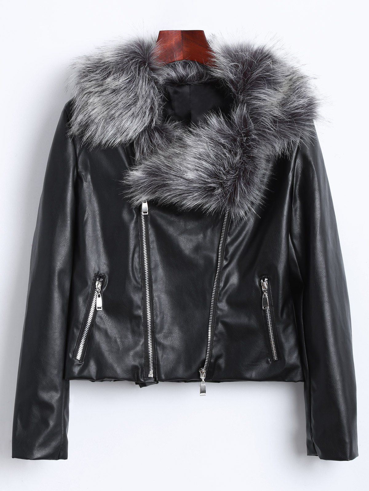 Zippers Faux Leather Biker Jacket with Fur Collar cropped leather biker jacket with tassel details