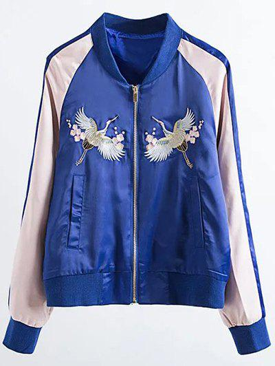 Embroidered Satin Bomber Jacket - SAPPHIRE BLUE M