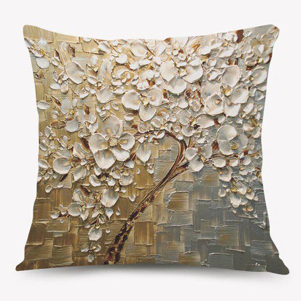Flower Oil Painting Sofa Cushion Pillow Case - LIGHT YELLOW