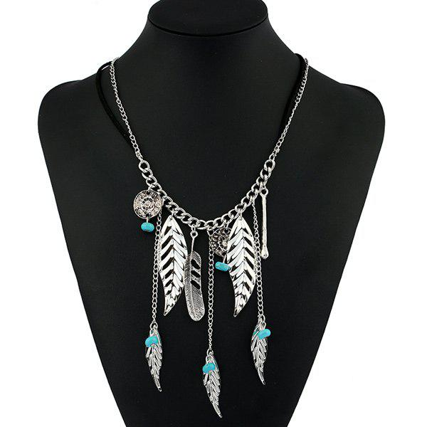 Bohemian Artificial Turquoise Beads Feather Necklace artificial turquoise beads bohemian cuff bracelet
