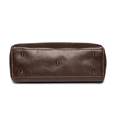 Double Pocket PU Leather Buckles Briefcase - COFFEE