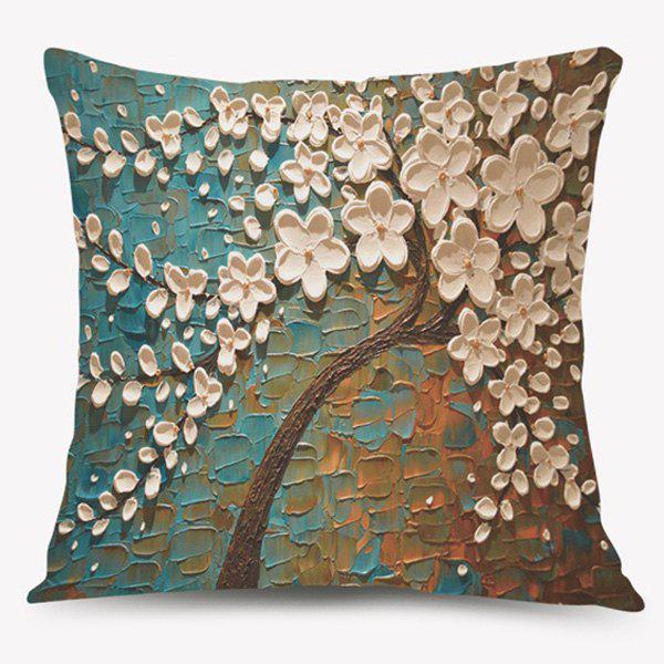 Oil Painting Blossom Tree Sofa Cushion Pillow Case - COLORMIX
